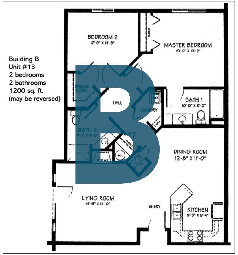 Spokane Valley Retirement Community Floor Plan Building B Unit 13